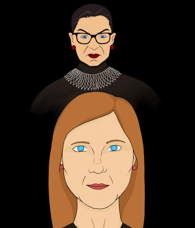 """Cartoon by Ariana Tackett. Ruth Bader Ginsburg did not want a new justice approved until """"a new president is installed"""", yet the Senate confirmed Amy Coney Barrett anyway."""