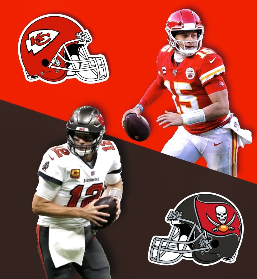 Tom Brady (Buccaneers) vs. Patrick Mahomes (Chiefs). Who will come out on top? Image by Peter Mahler.