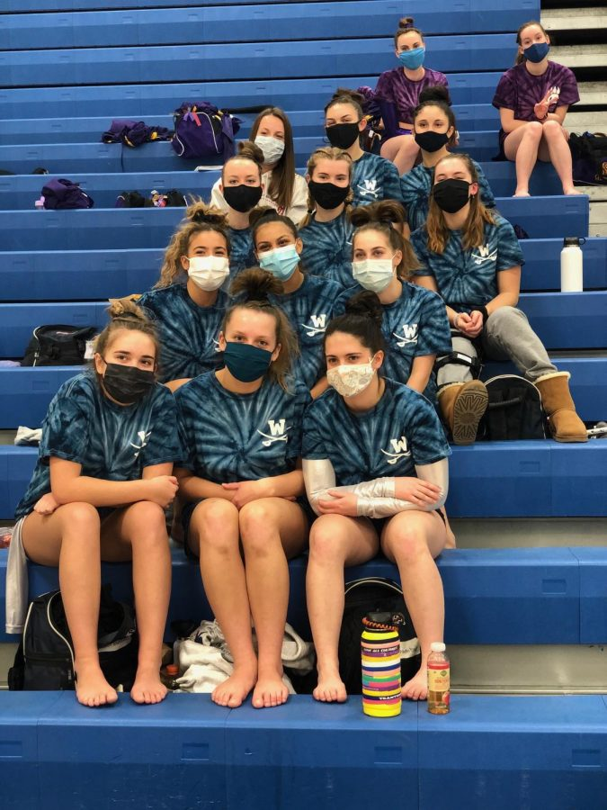 With everyone masked, gymnastics can go on as planned. (Photo courtesy of Coach Shelby Landay.)